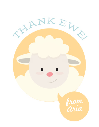 """Say """"Thank Ewe!"""" with the Farm Frenzy Children's Birthday Party Thank You Cards."""