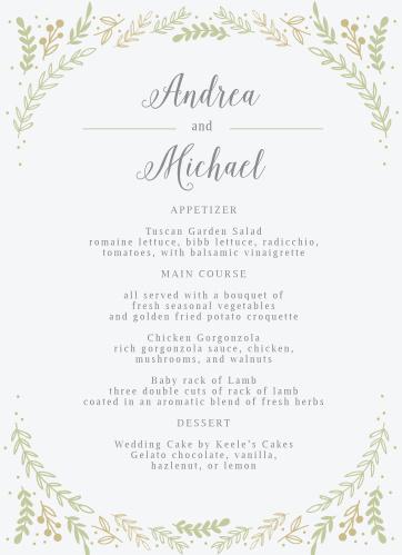 Wedding menus design your menu instantly online basic invite romantic evergreen wedding menus junglespirit Images