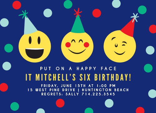 You party guests will be excited when they receive the Exciting Emoji Children's Birthday Party Invitations.