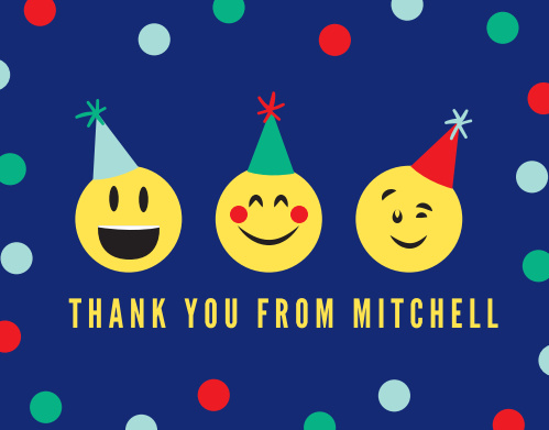 Show your excitement and gratitude to your guests by sending them the Exciting Emoji Thank You Cards.