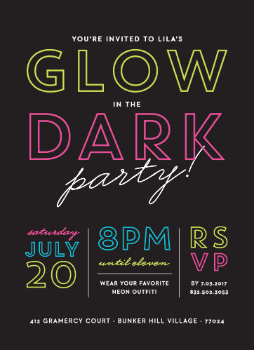Neon colors decorate this fun Glow in the Dark Children's Birthday Party Invitation.