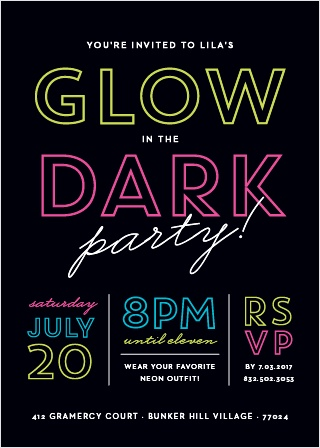 Neon colors decorate this fun Glow in the Dark Party Invitation.