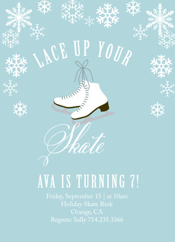Snowflakes fall on the Ice Skates Children's Birthday Party Invitations.