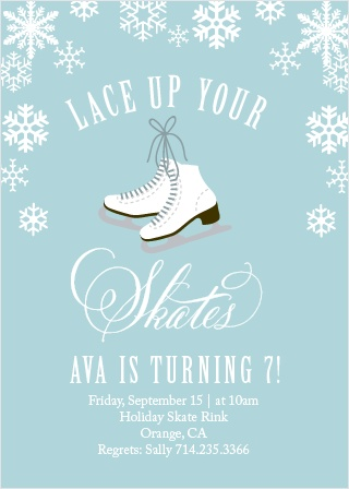 Snowflakes fall on the Ice Skates Party Invitations.