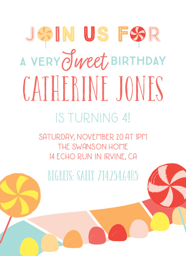 Tempt your guests with sweet treats with the Candy Land Children's Birthday Party Invitations.