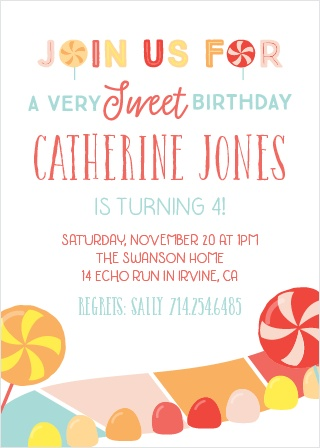 Tempt your guests with sweet treats with the Candy Land Party Invitations.