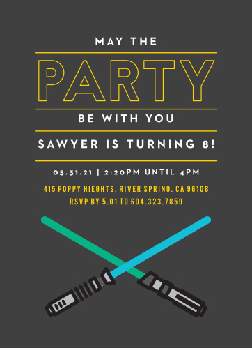 Prepare your friends for an epic space sword battle with the Space Sword Battle Children's Birthday Party Invitations.
