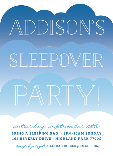 Invite friends for a sleepover with the On A Cloud Children's Birthday Party Invitations.