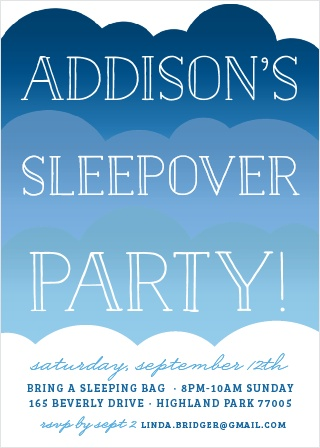Invite friends for a sleepover with the On A Cloud Party Invitations.