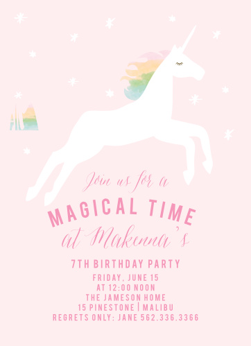 Prepare guest for a magical time with the Rainbow Pony Children's Birthday Party Invitations.