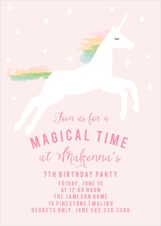 Prepare guest for a magical time with the Rainbow Pony Party Invitations.