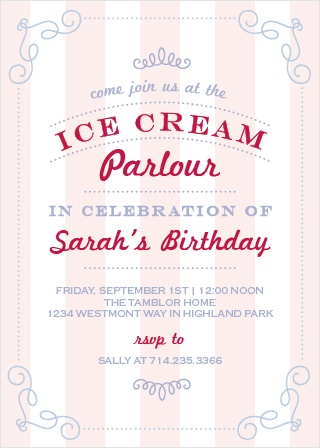 Show your guests how delicious your party will be with the Ice Cream Parlor Party Invitation!