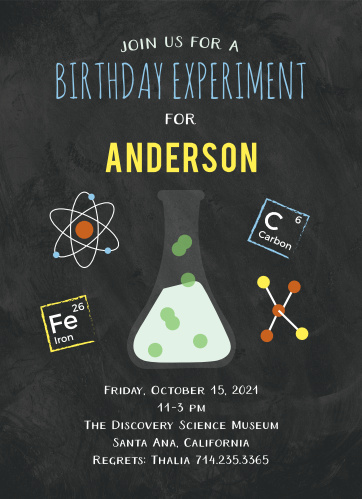 The Science Fair Children's Birthday Party Card is as exciting as mixing sodium bicarbonate and acetic acid: it's an eruption of fun!
