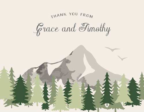Send your gratitude with the majestic mountain landscape of the Forest Escape Thank You Cards.