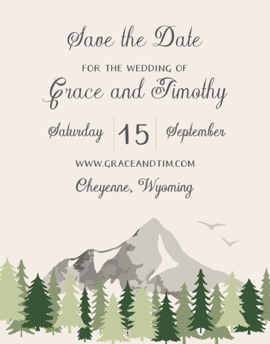A majestic mountain with a border of evergreens graces the bottom of the Forest Escape Save-the-Date Cards.