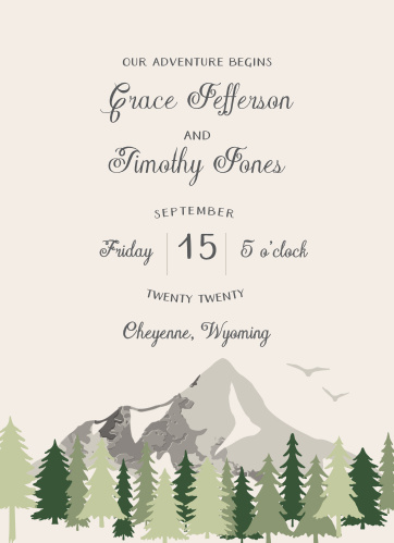 Invite friends and family to celebrate your love with the Forest Escape Wedding Invitations.