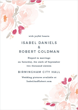 Soft flowers grace the corners of the Watercolor Bouquet Wedding Announcements.