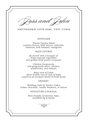 Show your guests your elegance and grace with the Elegant Script Wedding Menus.