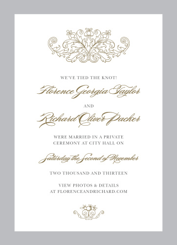 The Vintage Damask Wedding Announcements announce your wedding with regal sophisticated.
