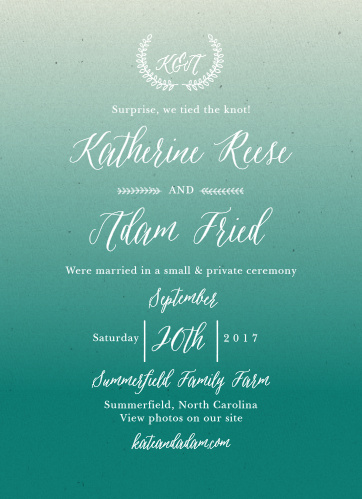 Let guests know you've tied the knot with the Rustic Ombre Wedding Announcements.