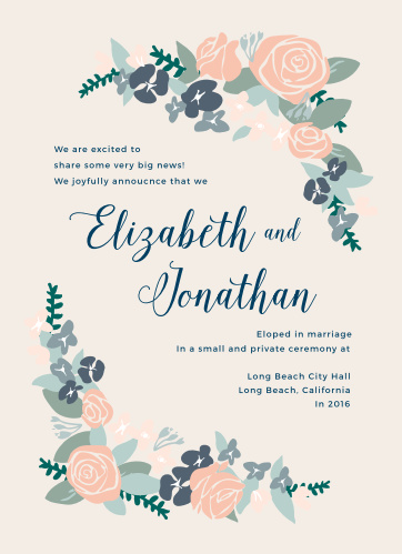 Announce your elopement with the romance of the Illustrated Corner Wreath Wedding Announcements.