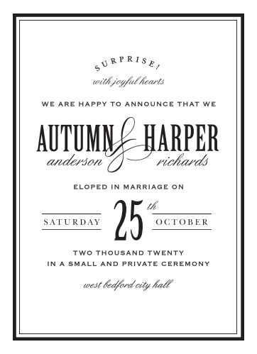Celebrate your new marital status with the Antique Elegance Wedding Announcements.