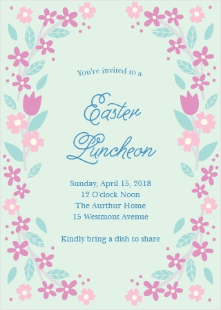 Sprightly flowers encircle your text on the Weekend Luncheon Party Invitations.