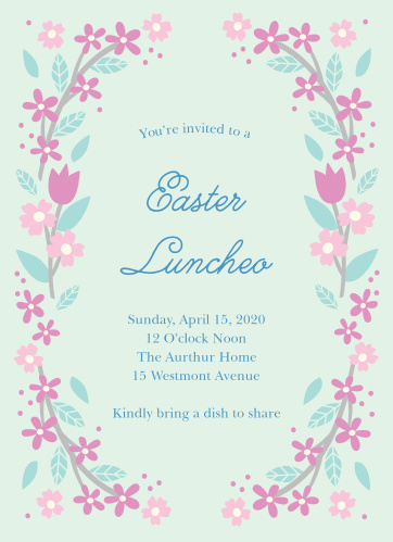 Sprightly flowers encircle your text on the Weekend Luncheon Easter Party Invitations.