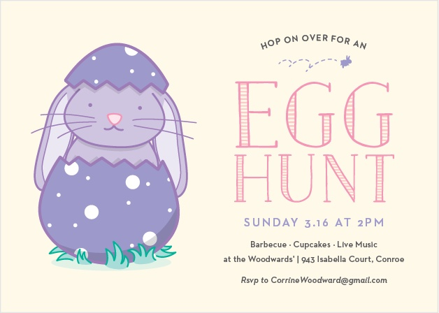 Invite friends to 'hop on over' for an egg hunt with the Easter Bunny Party Invitations.