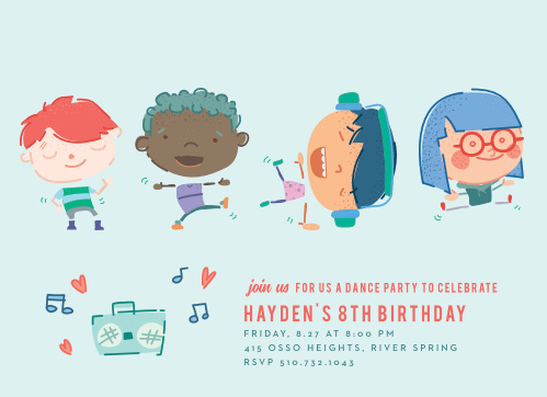 Invite friends to show off their best dance moves with the Dazzling Dance-Off Children's Birthday Party Invitations.