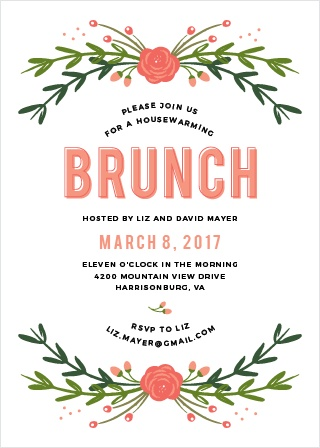 Cheery florals frame your text on the Botanical Brunch Party Invitations.
