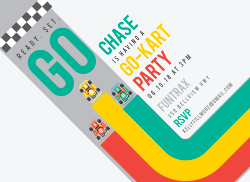 Read. Set. Go! Make sure your party gets off to a good start with the Kart Race Children's Birthday Party Invitations!