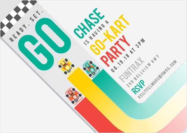 Read. Set. Go! Make sure your party gets off to a good start with the Kart Race Party Invitations!