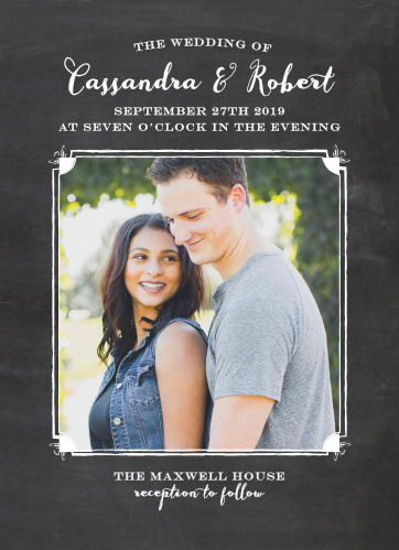 With a chalk-dusted blackboard background and typefaces that alternate between a careful cursive and an elegant engraved appearance, Chalkboard Frame Wedding Invitations provide you with a beautiful way to ensure you spend a beautiful day with all of your loved ones.