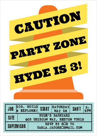 Caution! Fun ahead! Use the Construction Cone Party Invitation to bring some excitement to your construction themed party invitations.