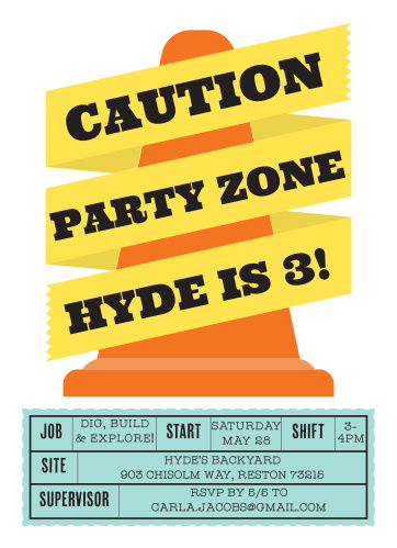 Caution! Fun ahead! Use the Construction Cone Children's Birthday Party Invitations to bring some excitement to your construction themed party invitations.