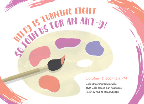 Frame your invites in a swirl of color using the Playful Palette Children's Birthday Party Invitations.