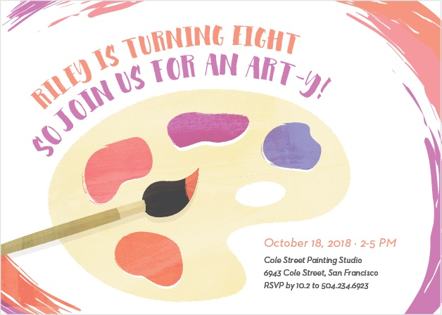 Frame your invites in a swirl of color using the Playful Palette Party Invitations.