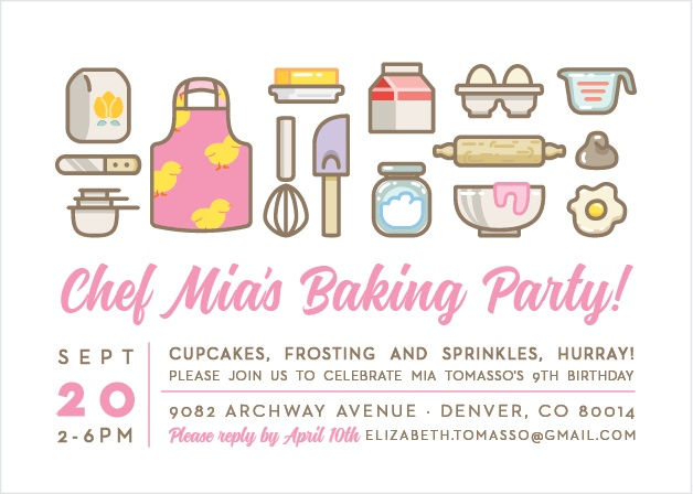 Invites friends for a day filled with cupcakes, frosting and sprinkles using the Baker's Delight Party Invitations.