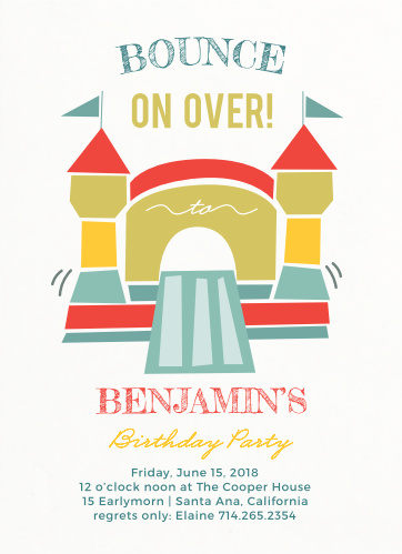 Jump Around! Show your guest the bouncing good time they will have at your party with the Bounding Bouncer Children's Birthday Party Invitations.