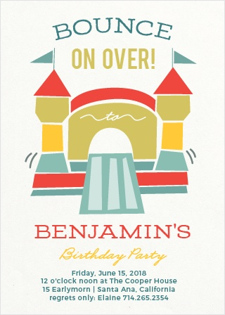 Jump Around! Show your guest the bouncing good time they will have at your party with the Bounding Bouncer Party Invitations.
