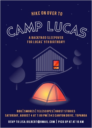 The Camp Out Party Invitation is a cute camping-themed design, features an outdoor tent, trees, cabin and the night sky.
