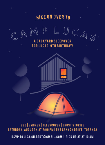 The Camp Out Children's Birthday Party Invitations is a cute camping-themed design, features an outdoor tent, trees, cabin and the night sky.