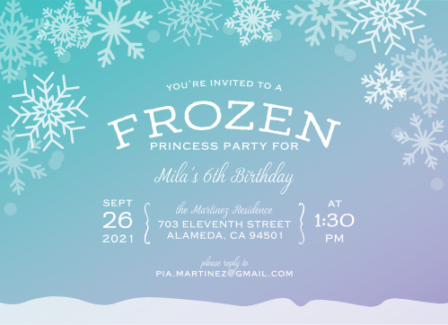 Invite friends to a princess party with an icy twist using the Ice Princess Children's Birthday Party Invitations.