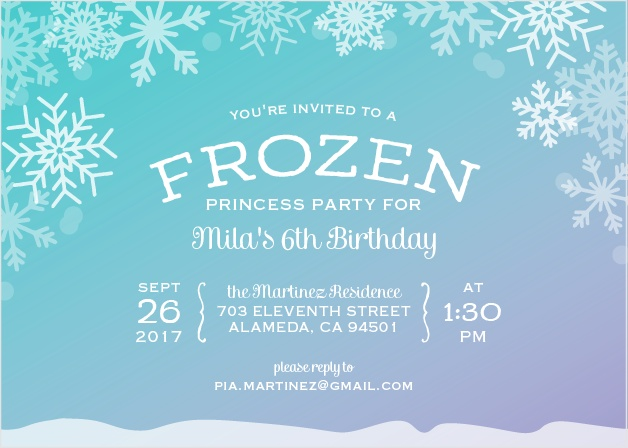 Invite friends to a princess party with an icy twist using the Ice Princess Party Invitations.