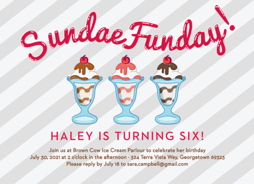Show your guests how delicious your party will be with the Sundae Funday Children's Birthday Party Invitation!