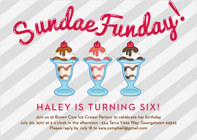 Show your guests how delicious your party will be with the Sundae Funday Party Invitation!