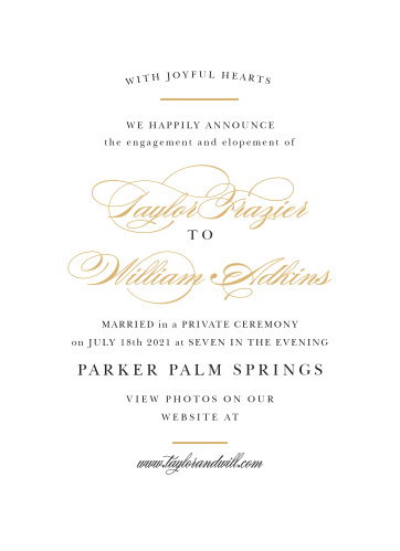 The Elegant Vintage Wedding Announcements lets your family and friends know that you made it official!