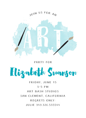 Throw a party with a creative twist using the Art Bash Children's Birthday Party Invitations.