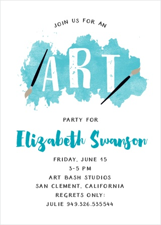 Throw a party with a creative twist using the Art Bash Party Invitations.